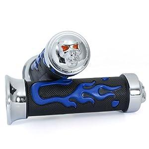 "7/8"" Motorcycle Chrome Handlebar Hand Grip Skull Black & Blue Flame For Suzuki GSX / GSXR / Hayabusa RM / DR"