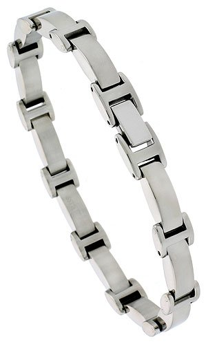 Stainless Steel Solid Link Bracelet 5/16 inch wide, 8 inch long
