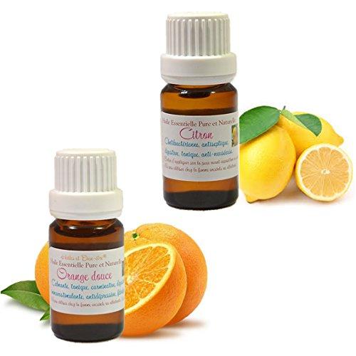 Lot de 2 Huiles Essentielles : Citron + Orange 10ml - Livraison gratuite