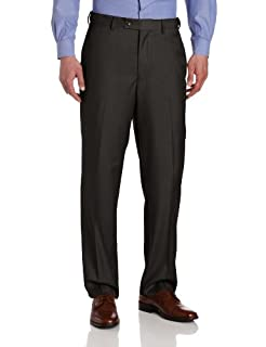 Louis Raphael Men's Striated Solid Flat Front Dress Pant with Comfort Waist, Gray, 44x32