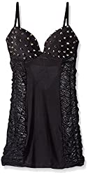 Starline Women's Punk Rock Playmate Studded Dress, Black, Medium