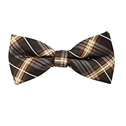 EBDC0061 Khaki Brown Checkered Bow Ties Microfiber Fitness For Marriage Pre-tied Bow Tie By Epoint