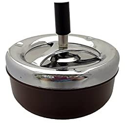 Round Push Down Ashtray with Spinning Tray Black -A32 (Brown)
