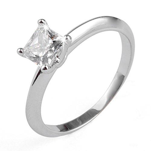 Aiyaya1Carat Cut CZ Solitaire Bridal Ring Sz7