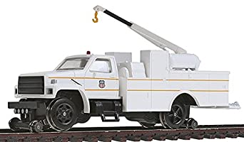 Bachmann Industries Maintenance of Way Hi Rail Equipment Truck with Crane DCC Equipped Union Pacific, White/ Yellow, HO Scale