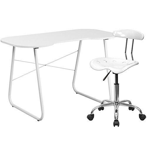 Flash Furniture Computer Desk And Tractor Chair, White