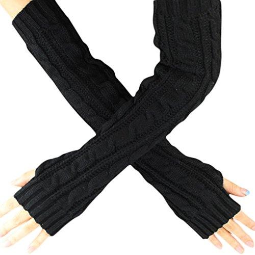 Vovotrade® Canapa Fiori dita a maglia lunghi guanti (Nero)
