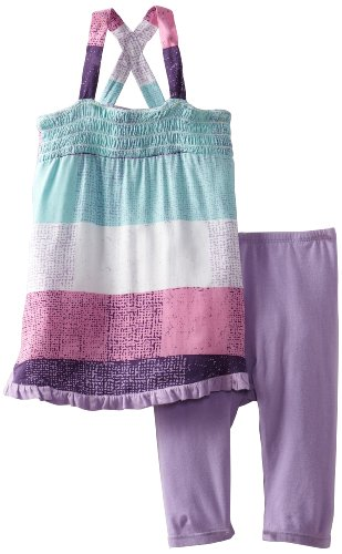 Splendid Littles Baby-Girls Silverlake Stripe Smocked Tank Legging Set, Pool Party, 12-18 Months front-985935
