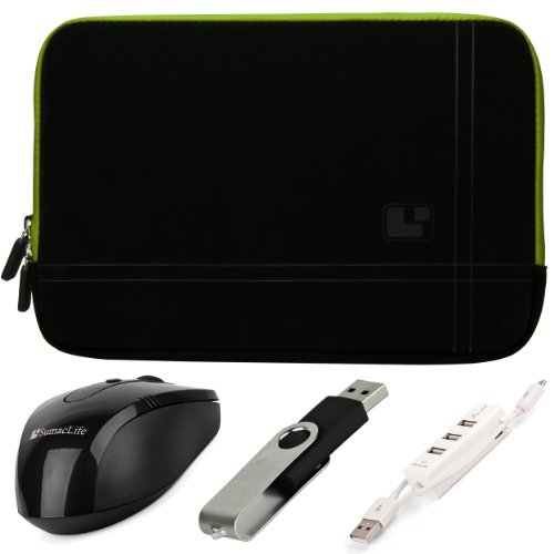 Green Trim Sumaclife Microsuede Laptop Sleeve W/ Neo Bubble Padding For Acer Aspire E1 Series 15.6-Inch Laptops + Black Sumaclife Wireless Usb Mouse And Adapter + Black 4Gb Flash Memory Thumbdrive + Kallin Universal 3 Port Usb Hub With Micro Usb Charger C