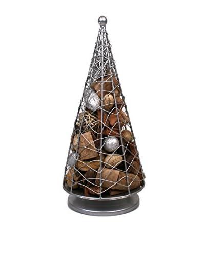 Jodhpuri Potpourri-Filled Wire Christmas Tree, Silver/Brown