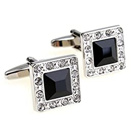 Super Shiny Swarovski Crystal Cufflinks Elegant Style Business Party Used