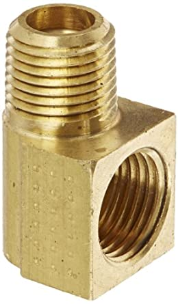 "Eaton Weatherhead 431X4 Brass CA360 Inverted Flare Brass Fitting, 90 Degree Elbow, 1/8"" NPT Male x 1/4"" Tube OD"