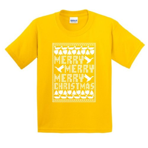 Merry Merry Merry Christmas Ugly Sweater Youth T-Shirt Medium Daisy