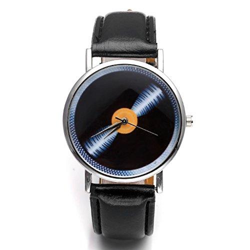 Orologi JSDDE, Vintage suono piano/lunga gioco blaha modello orologio da polso al quarzo non-cifre in ecopelle, nero