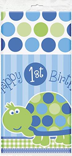 Turtle 1st Birthday Plastic Tablecloth, 84 x 54