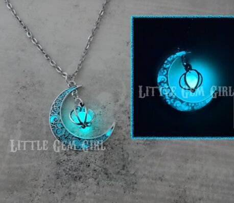 Glow in the Dark Silver Crescent Moon and Orb Necklace - Glowing Blue Moon Charm - Magical Fantasy Fairy Glowing Necklace - Glow Jewelry