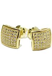 925 Sterling Silver 14k Yellow Gold Mini Stud Earrings