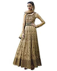Justkartit Women's Semi-Stitched Beige(Golden) Colour Net Long Anarkali Style Wedding Wear Gown / Long Anarkali Style Wedding Wear Heavy Embroidery Dress Material (Wedding Wear / Engagement Wear / Ceremony Wear Collection - 2016)