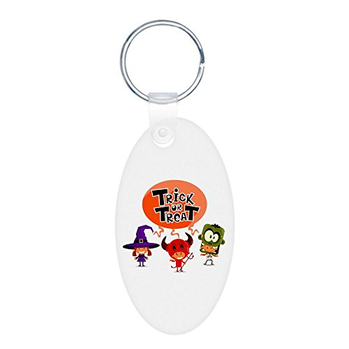 Aluminum Oval Keychain (2-Sided) Halloween Trick or Treat Kids