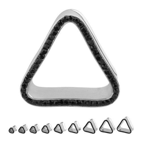 316L Surgical Steel Cubic Zirconia Black Triangle Multigem Plugs - 7/8