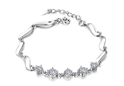 Ladies' Sterling Silver & Round-Cut Cubic Zirconia Linked Leaves Bracelet