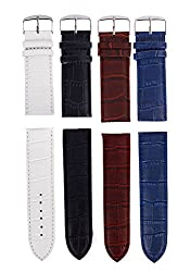 Sorella'z Watch Strap Combo of Four for Men's Watch (NavyBlue,White,Brown,Black)