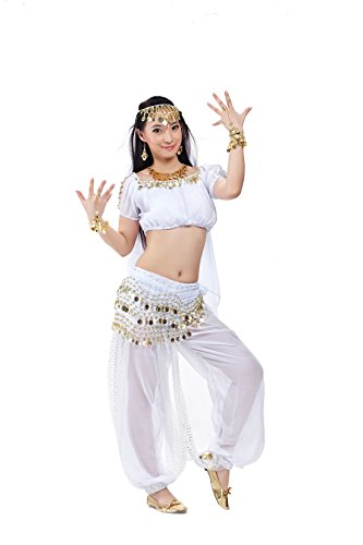 5pcs White Indian Performance Costume Point Lanterns Suits Belly Dance For Womens