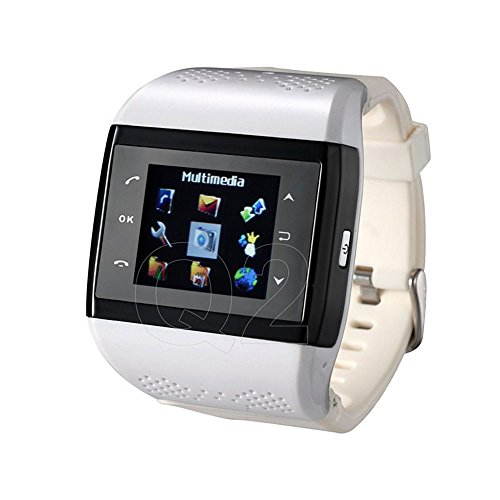 Easiertec® Q2 Unlocked Quad Band Smart Watch Phone With Bluetooth,Dual-Sim,2Mp Spy Camera,Touch Screen,Compass,Gsm,E-Book,Fm,Dial Buttons (White Black)