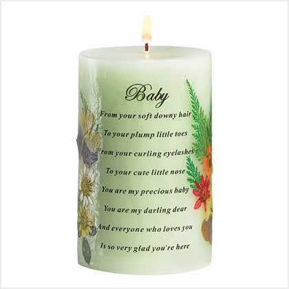 Sage Green Pillar Candle Vanilla Scented Baby Keepsake