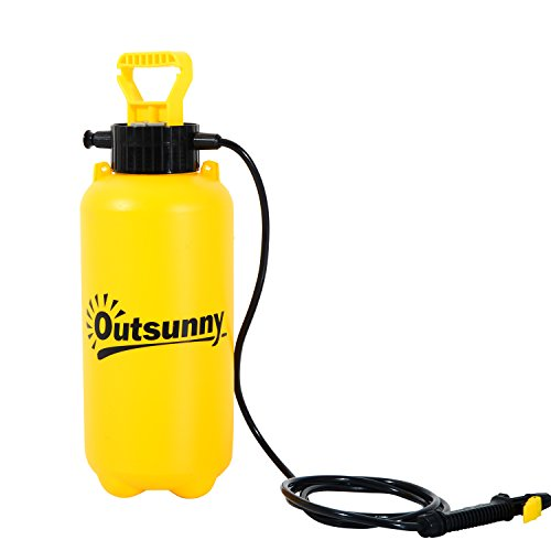 Outsunny 8L Portable Hand Pump Car Wash Sprayer - Yellow/Black (Portable Washer Water compare prices)