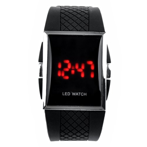 Foxnovo Sports Digital Led Watch With Red Led Display Rubble Band Quartz Watch Wrist Watch (Black)