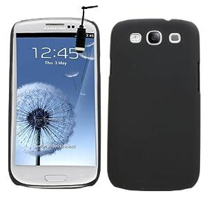 Samrick Coque rigide brillante en métal avec protecteur d'écran chiffon microfibre et mini-stylet noir haute performance pour Samsung i9300 Galaxy S3 et Galaxy S3 LTE 4G Noir