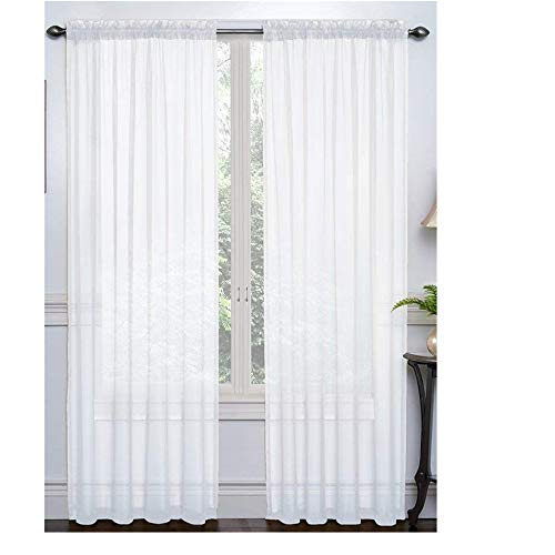 "Rumfo 2 Piece Set Semi-Sheer Curtains Beautiful Elegance Tulle Curtain Panel Drapes Treatment Decoration for Living Dining Kids Room Bedroom Kitchen Window 108"" Long & 79"" Wide (White)"