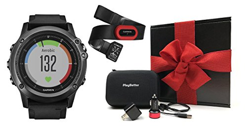 Garmin fenix 3 HR Performer Bundle Ultimate Gift Box (with Chest Strap HRM) | Includes Multi-Sport GPS Fitness Watch, Chest HRM, PlayBetter USB Car & Wall Adapter, Hard Carrying Case | Black Gift Box