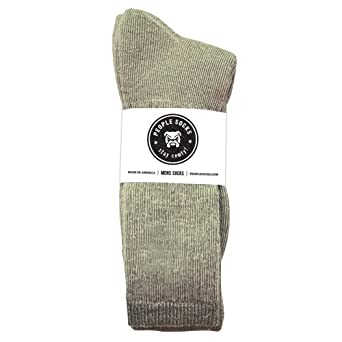 4 Pairs Mens People Socks Green Heather Below Zero Merino Wool Blend Crew Socks (Green Heather)