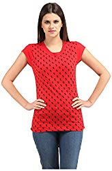Styllia Women's Regular Fit Top (T10RED _ Large, Red)