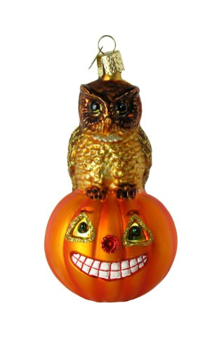 Owl & Pumpkin Glass Blown Ornament