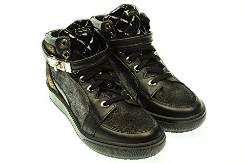ALBANO donna sneakers alte con zeppa interna 9925 GI144 VITELLO NERO 38 Nero