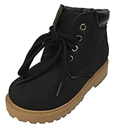 Toddler Boys Lace Up Boots, Outdoor Winter Snow Boots - Brown, Tan, Black (11, Black)