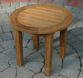 outdoor patio round side table with tapered legs garden
