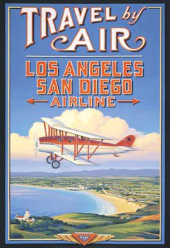Los Angeles San Diego Airline Vintage Travel Art Poster Print Kerne Erickson