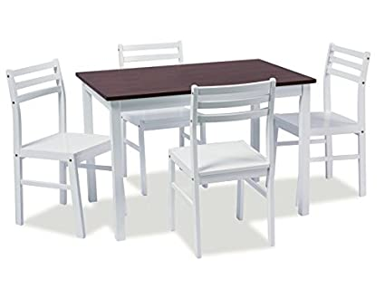 Essgruppe 'Trevor' Tisch + 4 Stuhle Weiß Kirsche, Farbe:Weiß/ Kirsche
