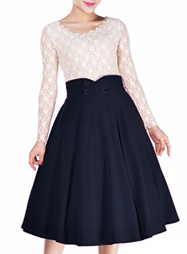Miusol-Damen-Elegant-Faltenrock-Zweireiher-Causal-Business-Vintage-1950er-Jahr-Roecke-Navy-Blau-GrM
