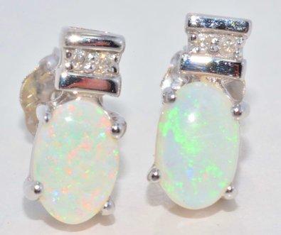 6x4mm Genuine Opal & Diamond Oval Stud Earrings .925 Sterling Silver Rhodium Finish