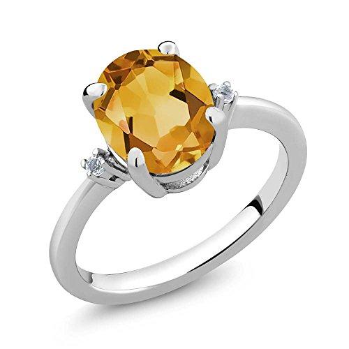 2.52 Ct Oval Yellow Citrine & White Topaz Gemstone Birthstone Women 925 Sterling Silver Ring