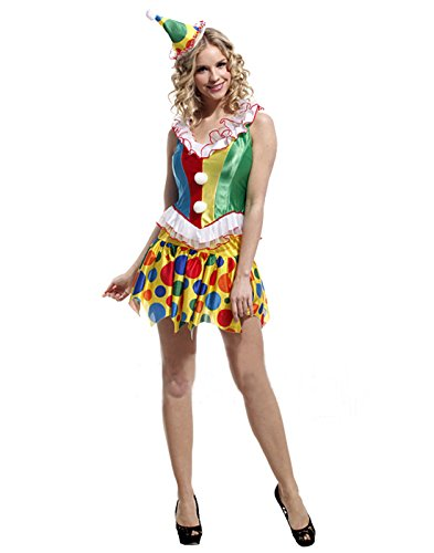 HDE Women's 3 Piece Sexy Naughty Circus Clown Halloween Costume Party Outfit