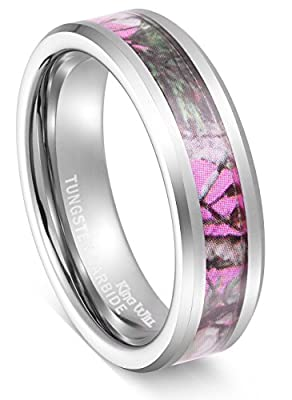 King Will 6mm Elegant Women's Hunting Camo Camouflage Pink/Rose/Green Tungsten Carbide ring Wedding Band