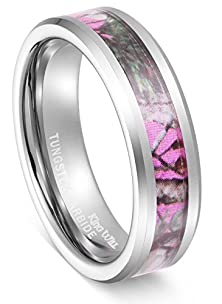 buy King Will 6Mm Elegant Women'S Hunting Camo Camouflage Pink/Rose/Green Tungsten Carbide Ring Wedding Band (6.5)