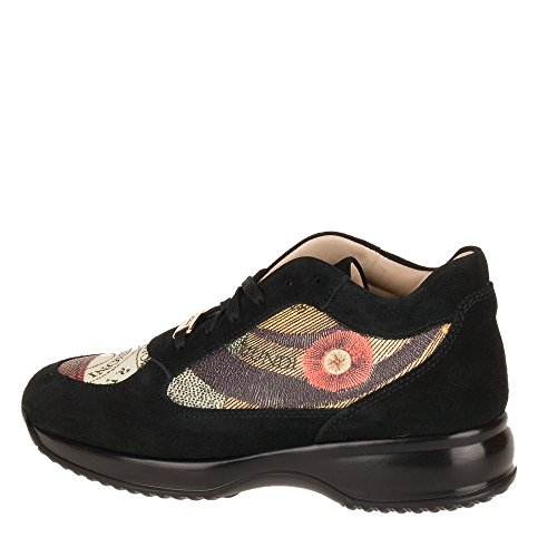 GATTINONI scarpe donna, sneakers PIGAT6039WSBP10, nero, fantasia, planetario, camoscio, simil hogan. (40)