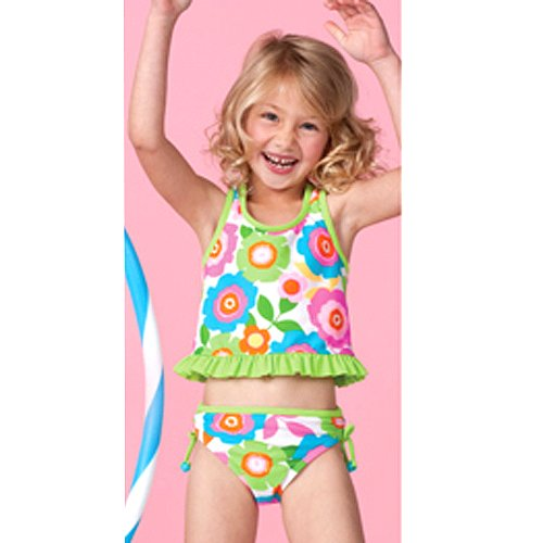 Hula Star 2pc Lime Green Flower Toddler Little Girl Swimsuit 2T-6X